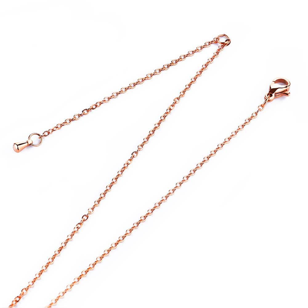 JeeMango Top Quality Link Chains Necklaces Stainless Steel Rose Gold Color Fashion Necklace Jewelry For Women Collier OGL328