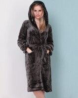 Woman Flannel Hooded Warmer Longer Bathrobe Home Pajamas Long Sleeve nightgown pajamas