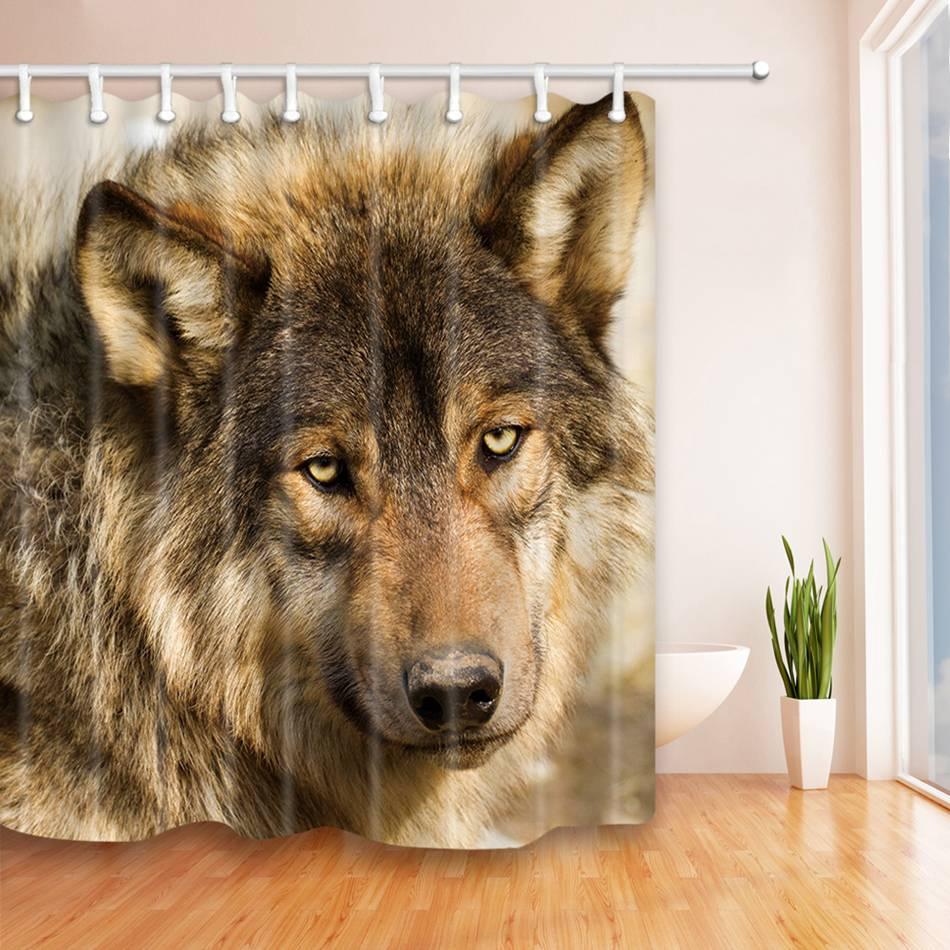 Deer bathroom accessories - New Cute Dog Shower Curtain 3d Home Waterproof Fabric Wolf Deer Bath Curtain For Bathroom Accessories