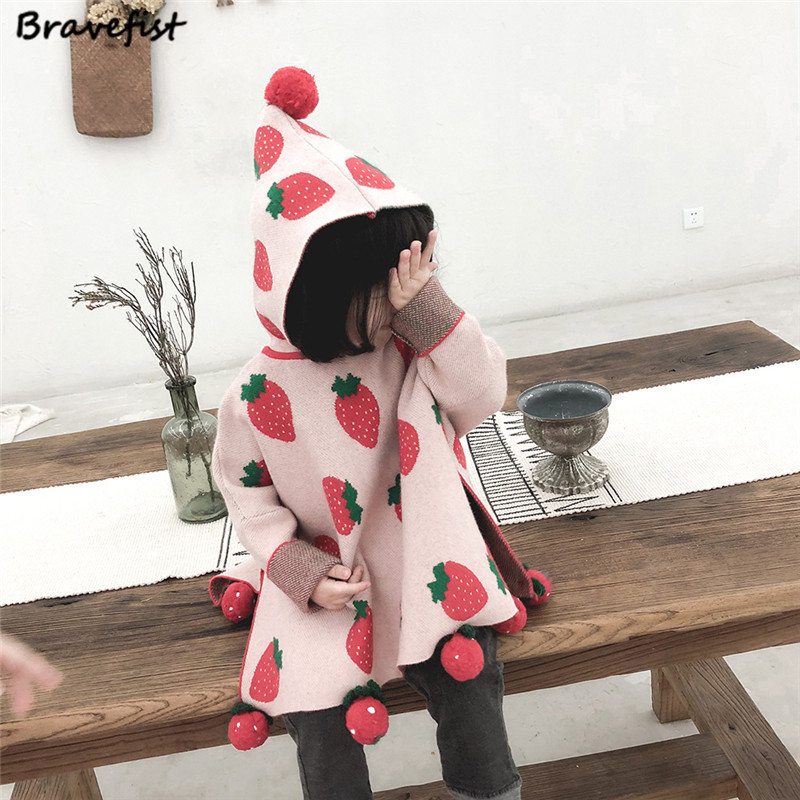 Baby Girls Sweater Sweety Strawberry Outwear For Girls Knitted Soft Infant Clothing Long Sleeve Girls Pullover Hooded SweaterBaby Girls Sweater Sweety Strawberry Outwear For Girls Knitted Soft Infant Clothing Long Sleeve Girls Pullover Hooded Sweater
