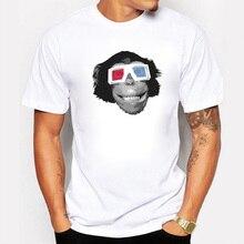 2016 New Casual Men's T-shirts Printing Wearing Glasses Orangutan T shirt Men White Funny Cute Animals Tshirt Homme Tees