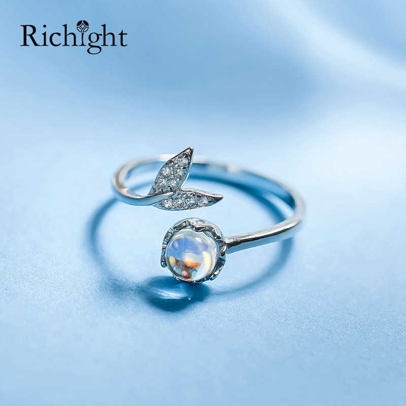 Fashion Design Cute Mermaid Princess Moonstone Ring 925 Sterling Silver Jewelry Fishtail Open Cuff Rings Mermaid Tears Rings