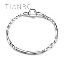 TIANRO Classic DIY Beaded 3mm snake chain base silver-plated treasure box buckle bracelet Jewelry