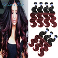 8A Ombre Brazilian Hair 4 Bundles Brazilian Virgin Hair Body Wave Human Hair 99j Brazilian Body Wave Ombre Human Hair Extensions