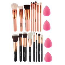 New 8Pcs Rose Gold Makeup Brushes Eyeshadow Powder Blush Fondation Brush Make Up Tool +2pc Sponge Puff Cosmetic Kit