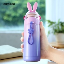 OUSSIRRO 350ml Children Lovely Originality Cartoon Thermos Schoolgirl Portable Mini 304 Stainless Steel Water Bottle