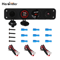 Herorider 4 Hole Panel Base Dual USB Voltmeter Meter Power Socket Cigarette Lighter Switch Car Truck