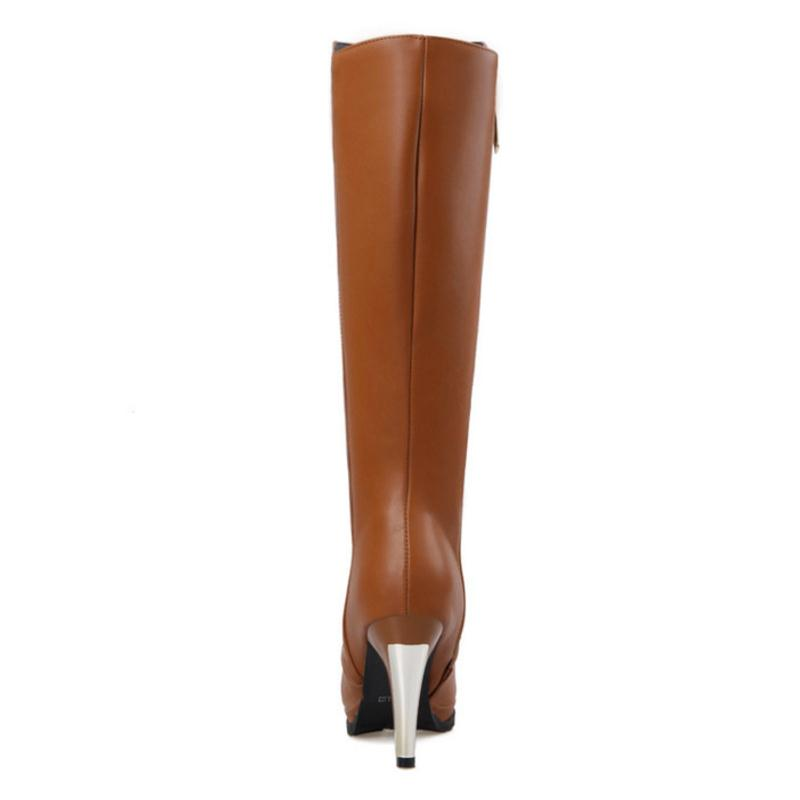 Coolcept size 30-52 women high heel over knee boots fashion warm riding boot pionted toe quality footwear heels shoes P21143