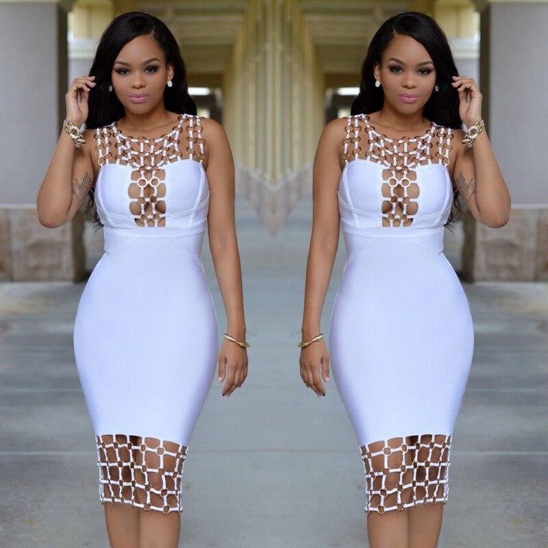 Платья женские Bodycon платье повязки 2016 женщины летний новый стиль выдалбливают U шеи блестками боди платье черный белый партия ужин платье