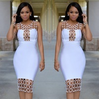 Women's Vestidos Bandage Dress Rayon 2017 Summer Hollow Out U Neck Sequined Bodycon Dress Black White Dinner Sexy Party Dresses