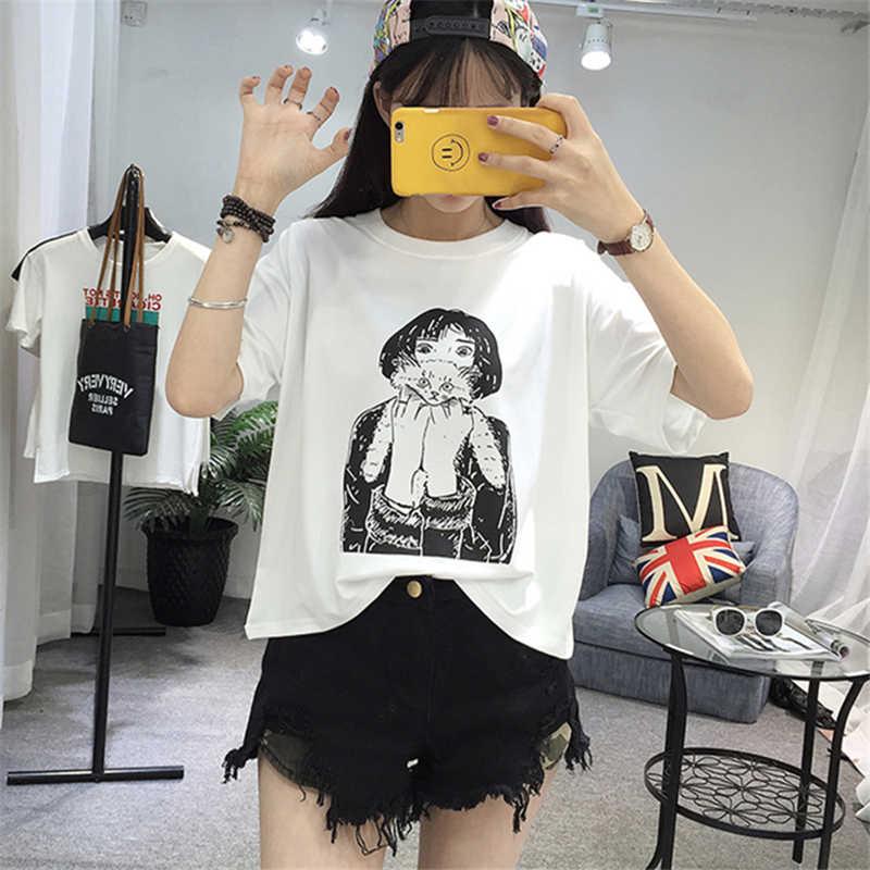 Jielur 2019 летняя новая белая футболка с короткими рукавами для женщин Harajuku с принтом персонажей Свободный топ женский футболка Повседневная забавная футболка