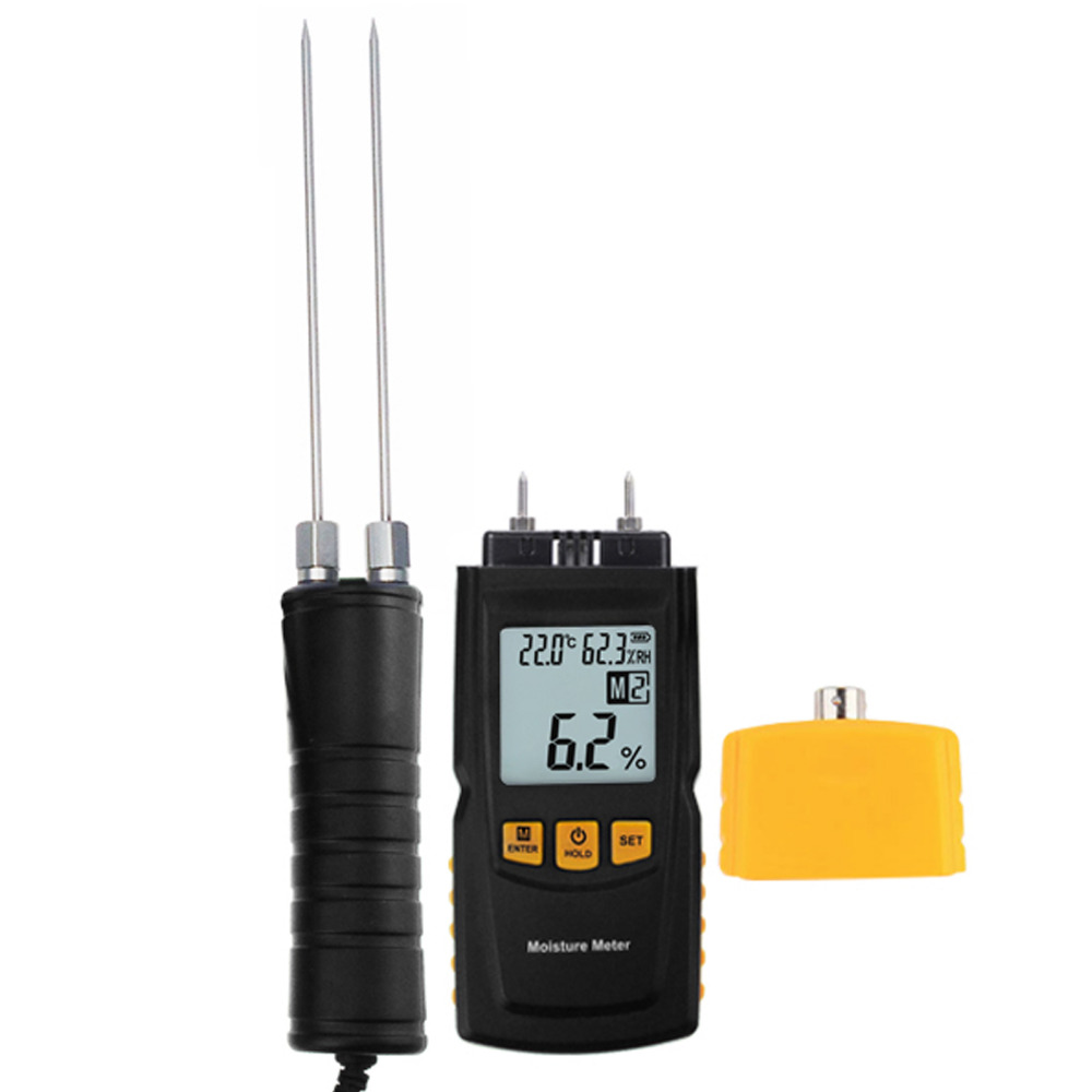 Digital Wood Moisture Meter 2~70%/ Humidity 20~90% RH/ Temperature -10~60degreeC  Timber, Damp Detector Portable, Soft Wood portable pin type wood moisture meter mc7806