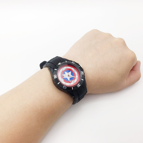 Captain America Cartoon Watches for Children Boy Quartz Wrist Watch Black PU Strap Mens Sports Clock Fashion Student Wristwatch Islamabad