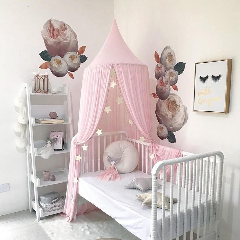 mosquitero de algod/ón dosel de algod/ón dosel de cama para la sala de lectura de los ni/ños Canopy de cama redondo decoraci/ón de dormitorio rosa rosa