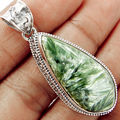 Genuine Seraphinite Pendant 100% 925 Sterling Silver 51mm, 14.6g, AP0562