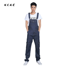 2016 fashion Men's plus size blue overalls Large size S-5XL denim bib pants Fashion pocket jumpsuits Male