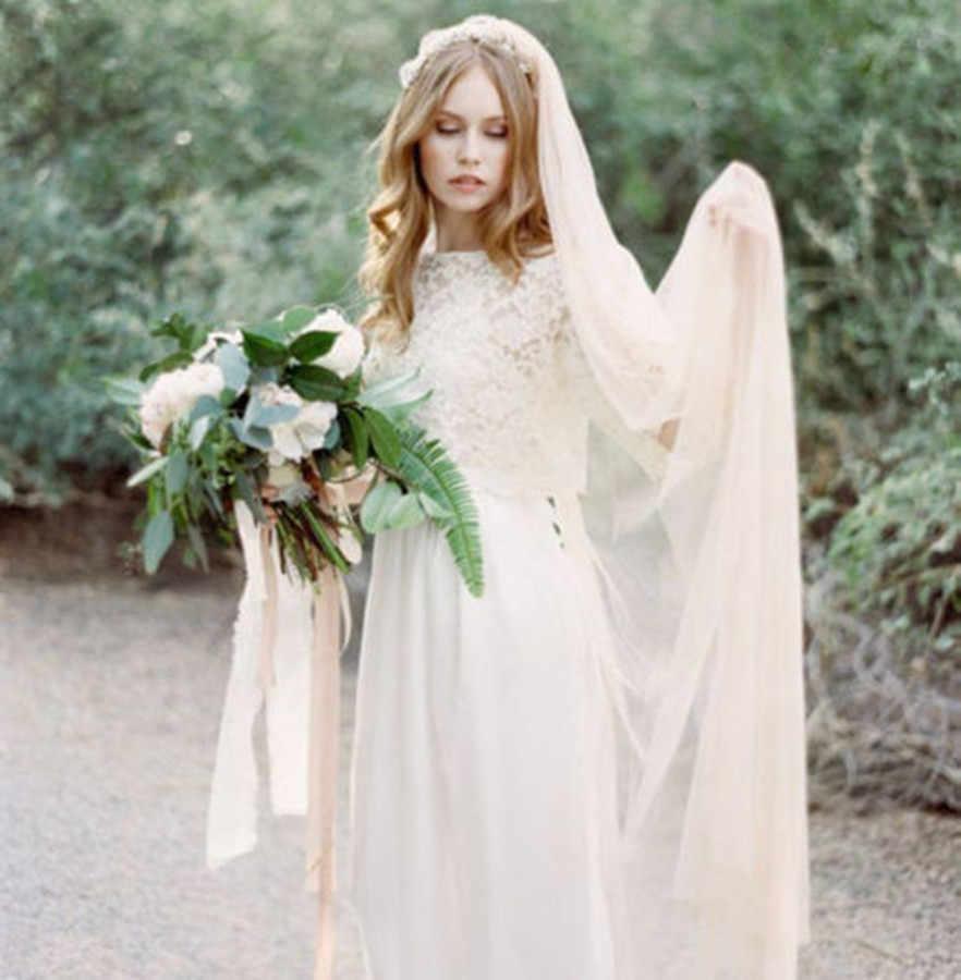Weiß Elfenbein Champagner Lange Kathedrale schleier Schnittkante Hochzeit Schleier Eine Schicht Braut Schleier mit Kamm Hochzeit Zubehör