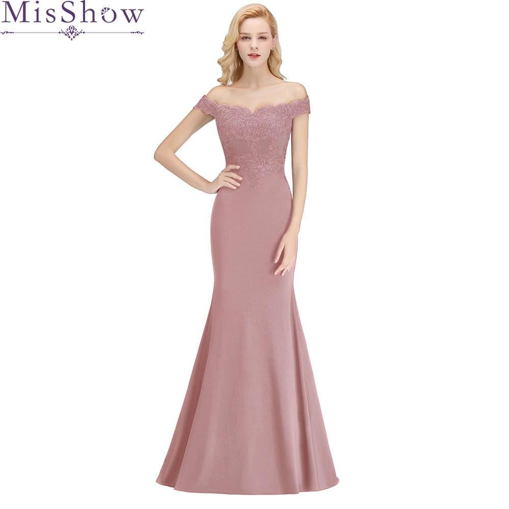 2019 Vestido De Festa Longo Mermaid   Bridesmaid     Dresses   Floor Length Dusty Pink Green Long Party   Dress   Cheap   Bridesmaid   Gowns