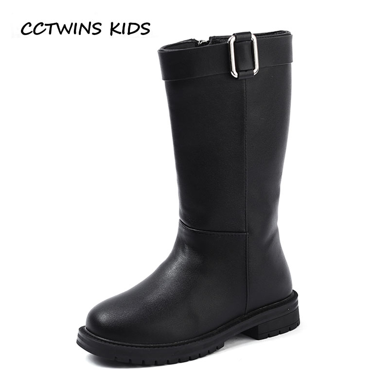 CCTWINS KIDS 2018 Winter Children Fashion Knee High Boot Baby Pu Leather Shoe Girl Brand Warm Boot Black Toddler H051 cctwins kids 2018 winter children brand black knee high boot baby pu leather flat girl fashion warm shoe toddler h057
