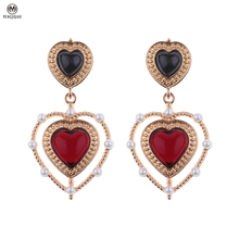 2017 Delicate Sweety Red Rhinestone Love Heart Drop Earrings Simulated Pearl Jewelry Earrings For Women Brincos Boucle D