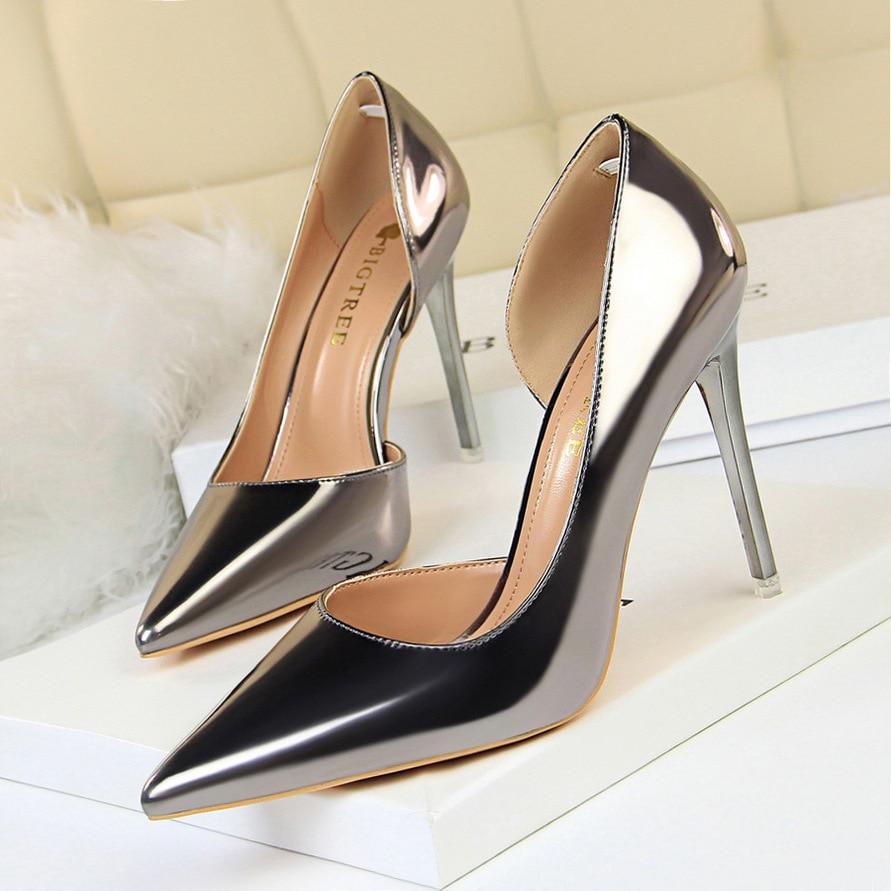 dbdb13f95217e Wonen High Heels Shoes Fashion Women Pumps Patent Leather Classic Pumps  Women Heels Ladies Party Bridal