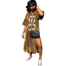 a81ef8e6a67 I AM RED WITH LOVE Letter Print Gold sequin Long party dress women Sexy  Ruffle Split