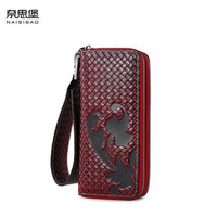 New women genuine leather bag designer brands fashion woven pattern women embossing Double zipper long wallets clutch bags