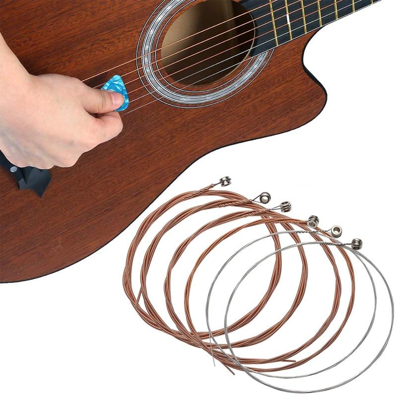 6pcs set Bunte Stahl-Universal-Akustikgitarren-Schnüre neu