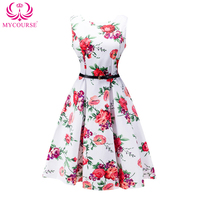 MYCOURSE Vintage Blossom Print Sleeveless Dress Audrey Hepburn Floral Robe Retro Swing Casual 50s Rockabilly Dresses