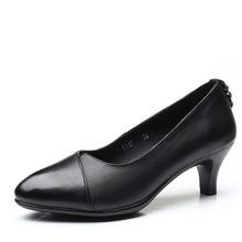 Women black pointed toe leather high heels pumps 5.5cm heels