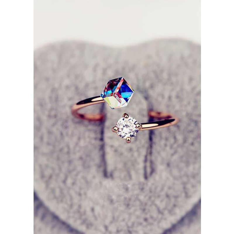 สีแหวนเครื่องประดับของขวัญ Rose Gold Elegant แหวนเปิด Zircon Simple อุปกรณ์เสริมพิเศษ