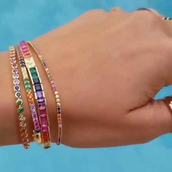 Shiny Top Quality Cubic Zircons Square Stones Adjustable Slider Bracelet Bangle