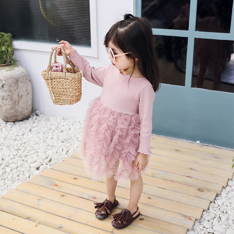 2 5Y Children 39 s Cotton Tulle Patchwork Dress Baby Girls Princess Solid Color Gauze Cake Dresses Kids Fashion Party Clothings in Dresses from Mother amp Kids
