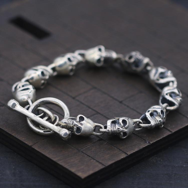S925 Bracelet En Argent et Bracelet Crâne et Flammé OT Boucle Thai Argent Bracelet 10mm Hommes de Mode Punk Style