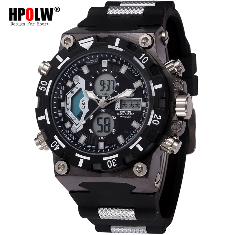 New HPOLW Brand Mens Date Day LED Display Luxury Sport Watches Digital Military Men's Quartz Wrist Watch Relogio Masculino