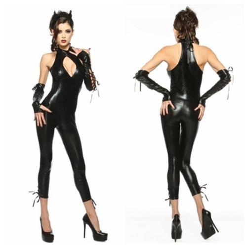Devil Women Catsuits Black Color One Piece Jumpsuit Slim Fit Hot Latex Catsuits For Women LQZ SM88613