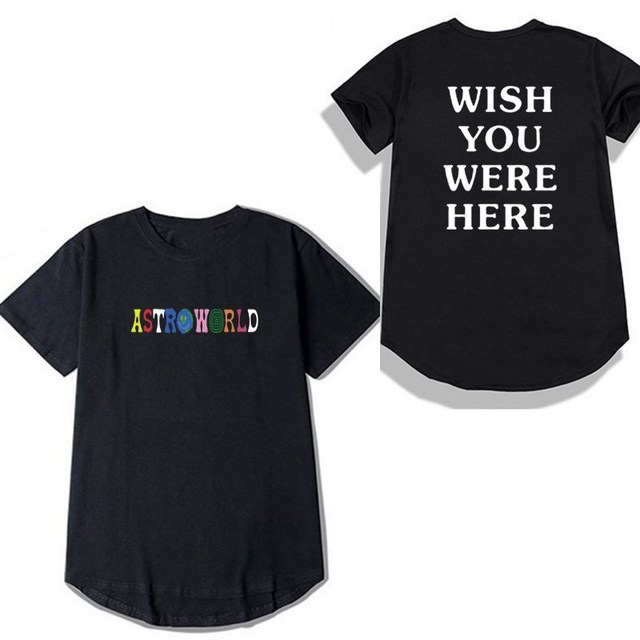 03e4d5cbe4f8 Round hem ASTROWORLD tshirt funny letter ASTROWORLD WISH YOU WERE HERE t  shirt fashion Hip Hop