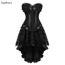 0b23c1cde21cd Sapubonva burlesque corset and skirt set lace corset dress Gothic gowns  corsets and bustiers party plus size vintage sexy black