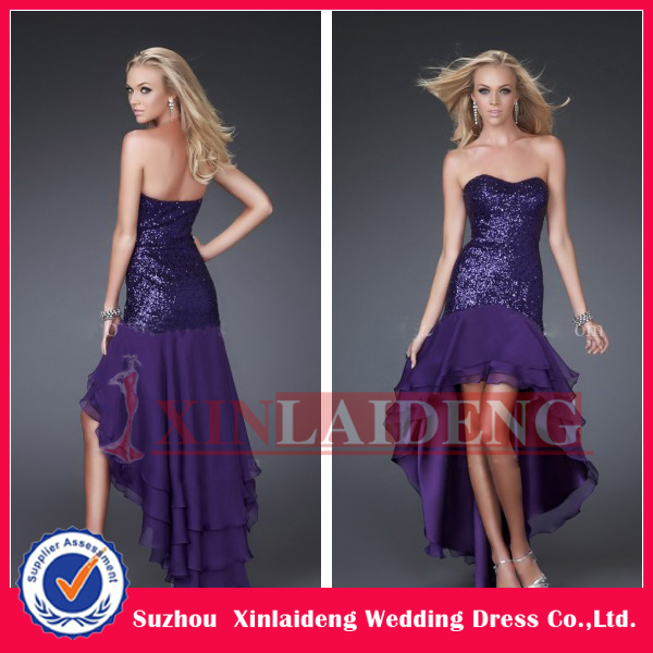 PMD045 2012 purple sequins high low hem prom dresses