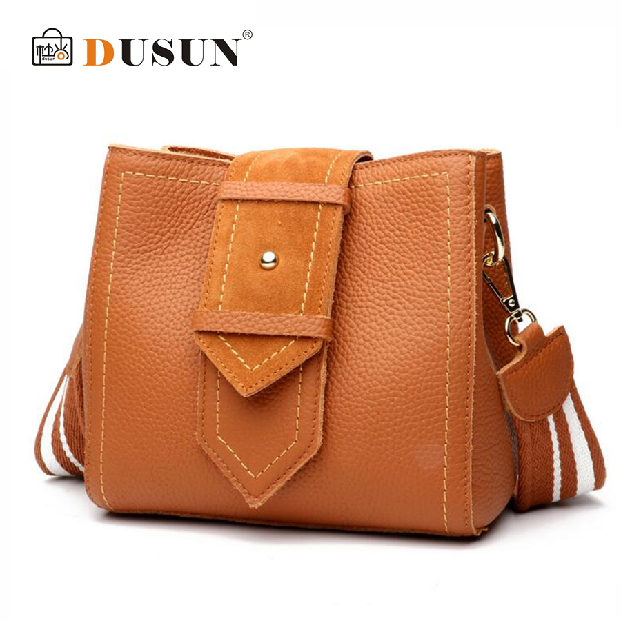 DUSUN Women Genuine Leather Bucket Bag Fashion Handbag Cow Leather Shoulder Bags Female Simple Wide Shoulder Strap Messenger Bag bucket bags women genuine leather handbags female new wave wild messenger bag casual simple fashion leather shoulder bags