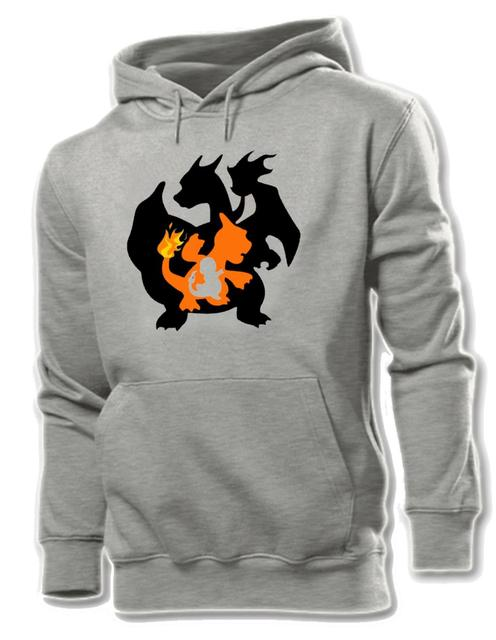 Fashion Cool Pokemon Charmander Charmeleon Charizard Cotton Pattern Printed Hoodie Men's Boy's Graphic Sweatshirt Tops Grey