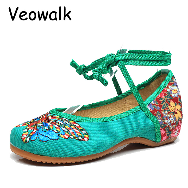 Veowalk Big Size 34-41 Women's Shoes Old Peking Lace-up Flats Butterfly Embroidery Soft Sole Casual Dancing Shoes Woman 2016 hot sale women s shoes old peking denim shoes flat heel with embroidery soft sole casual shoes dancing shoes size 34 41