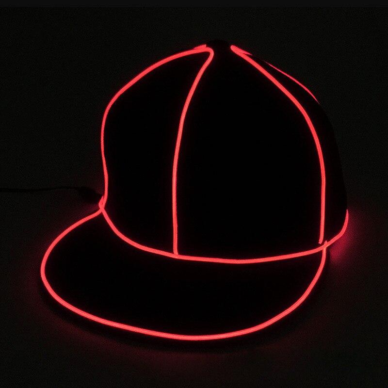 Cool EL Luminous Cap Men Hip Hop Snapback Hat Women Wire Glow in Dark Light Hat Halloween Party Supplies Dropshipping