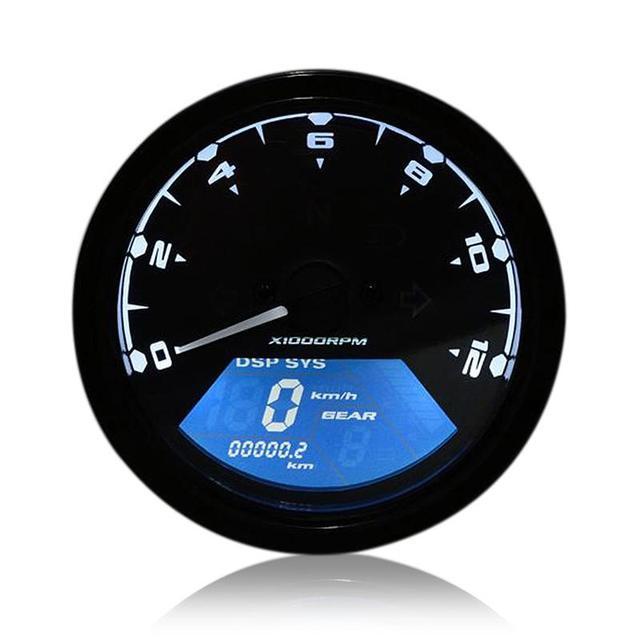 1 Set 12v Dc 12000rmp Lcd Digital Speedometer Tachometer