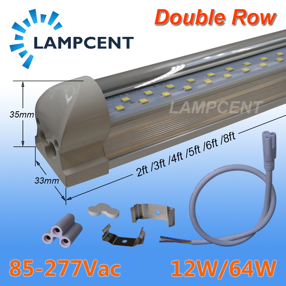 T8 LED Tube Light Bulb Integrated Double Row 2FT 3FT 4FT 5FT 6FT 8FT LED Shop Lights 4/6/10 Pack