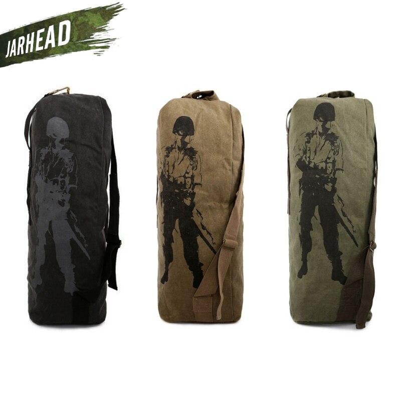 Outdoor Sport Canvas Large Shoulder Bag Military Tactical Canvas Backpack Army Soldier Men Climbing Camping Shoulder Bag tactical outdoor double shoulder backpack bag army green