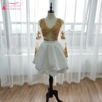 Золотой и белый с длинным рукавом Homecoming платья Многоуровневое юбки See хотя черный для девочек элегантные коктейльные платья спинки corto ZHM013