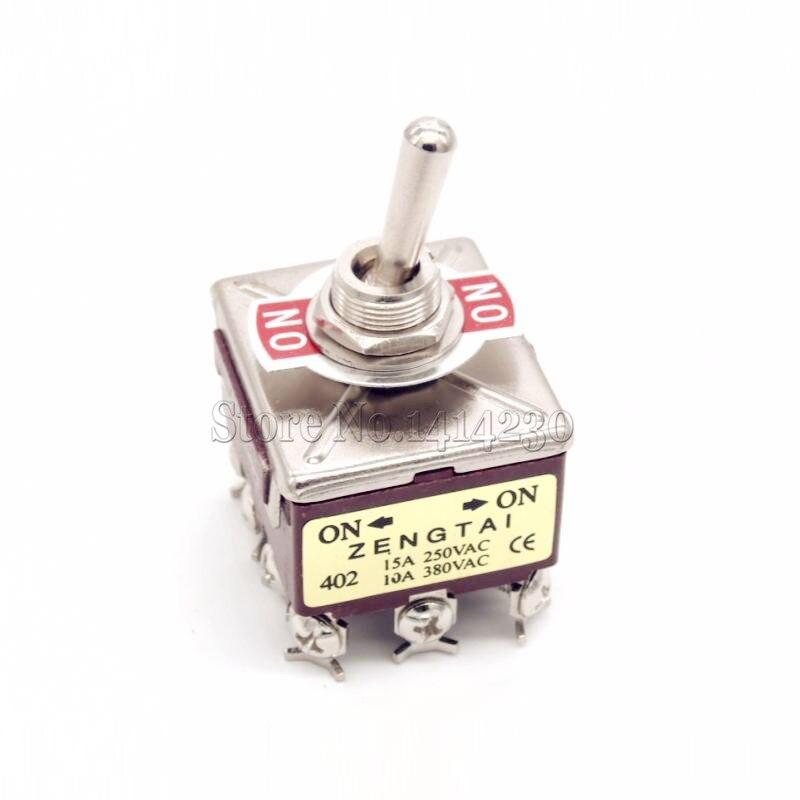 Interrupteur à bascule 12 broches 3PDT ON/ON 12 vis, 2 pièces, 10A/380VAC 15A/250VAC, E-TEN402 ZT-402