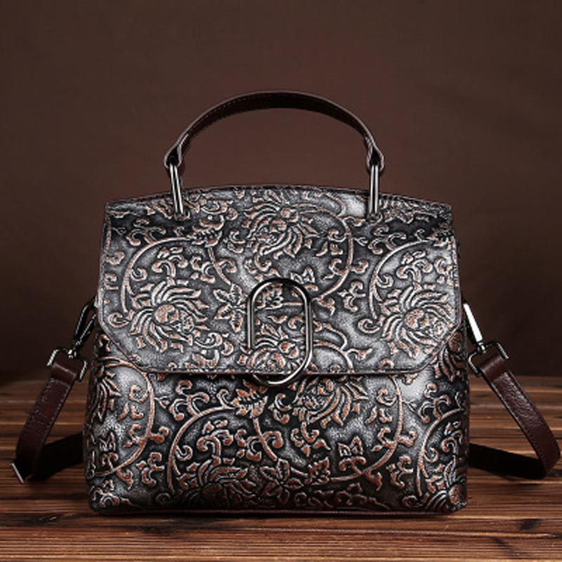 YISHEN Embossed Luxury Women Handbags Vintage Genuine Leather Women Shoulder Bag Casual Totes Fashion Messenger Bags LS8834