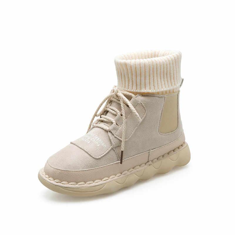 LZJ Sonbahar ve Kış Kadın erkek Yüksek Üst Çizmeler Nubuk Artı Kadife Sıcak gündelik ayakkabı Yuvarlak Ayak Dantel-up Öğrenci düz çizmeler